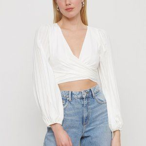 Dynamite Cropped Wrap Long Sleeve Blouse with Tie